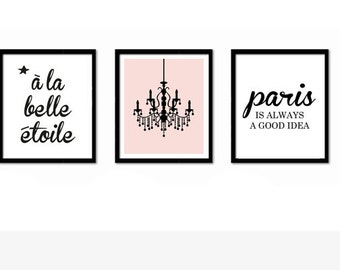 Audrey Hepburn Quote, French Art, Paris Print, Pink Wall Art, Black and White, Nursery Decor, Paris is Always a Good Idea