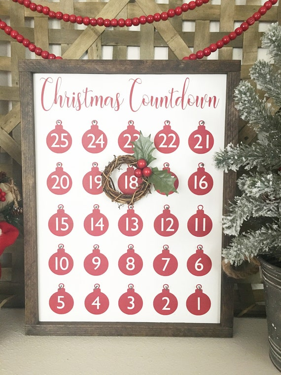 Countdown To Christmas Sign.Countdown To Christmas Sign Advent Calendar Days Until Christmas Sign