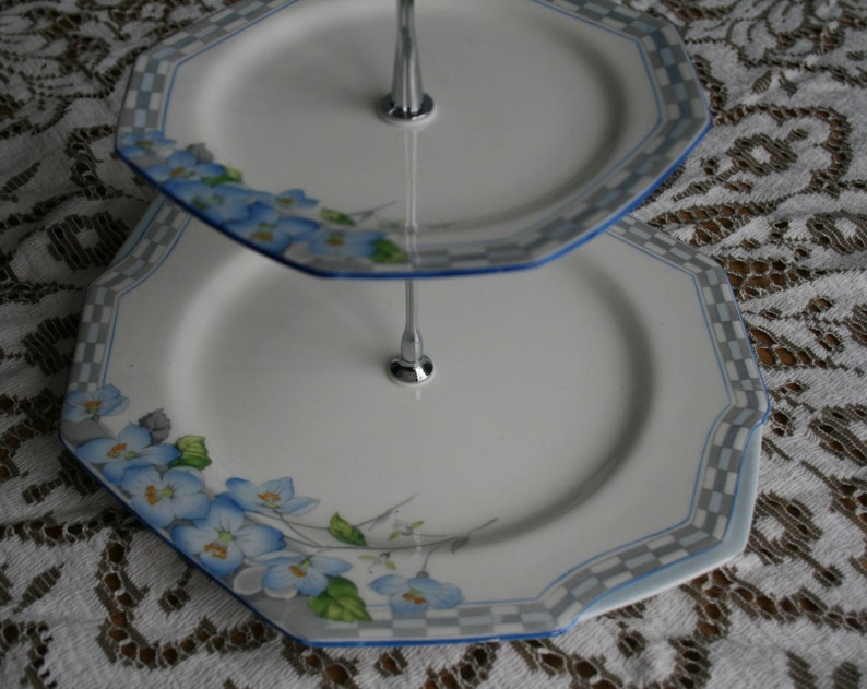 Vintage Cake Stand Blue Matching Plates Two Tier Cake Stand