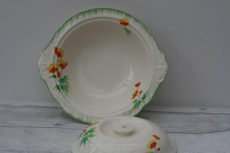 1930s Hostess Gift Vintage Kitchen Art Deco Tureen Floral Green and Orange Dinner Serving Dish