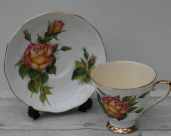 Roslyn Wheatcroft Famous Roses 'Peace' Teacup and Saucer. Home decor.