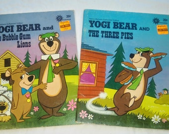 "Pair of Yogi Bear Durabooks, "" Yogi Bear and the Three Pies"" and ""Yogi Bear and The Bubble Gum Lions."" Written by Horace J. Elias, 1974."