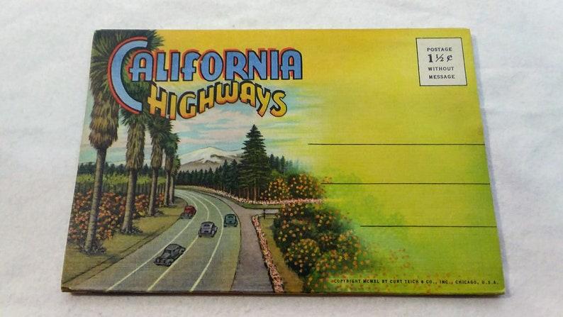 Vintage 1940/'s Travel Ephemera Souvenir Postcard Folder featuring California Highways Includes 18 Views. 1940