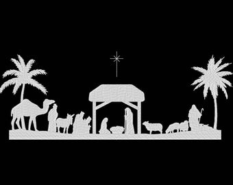 Winter Nativity Christmas Embroidery Machine Design