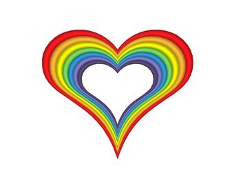 Rainbow Heart Embroidery Machine Design **11 Sizes!!!**