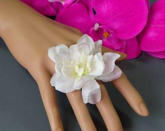 Delphinium flower fashion ring