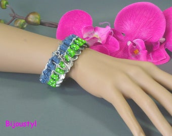 Bracelet fancy Jeans - know - Green Ribbon with white dots