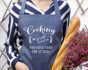 Stone blue kitchen cooking apron, Women's aprons, Cooking with love blue apron, Personalized baking, Stone blue unisex apron,Mens blue apron