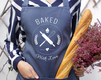 Stone blue baked with love women's baking apron, Women's cooking full bib, Personalized aprons, Gift for her, Gift for mom, Bakery apron