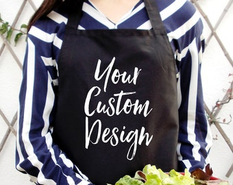 Custom unisex kitchen apron in black, Comfortable full bib fit, Available in diffrent colours or both men and women.