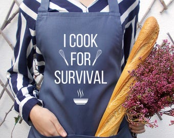 Stone blue kitchen cooking aprons, Men's and Women's, I cook for survival, Fun personalized apron, Stone blue fun unisex apron,Gift idea him