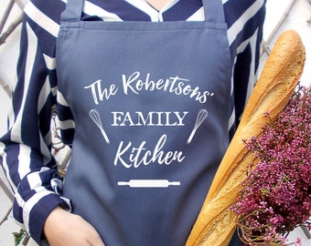 Stone blue kitchen cooking apron, The family kitchen, Personalized baking, Cooking family apron, Stone blue unisex, Personalized family gift