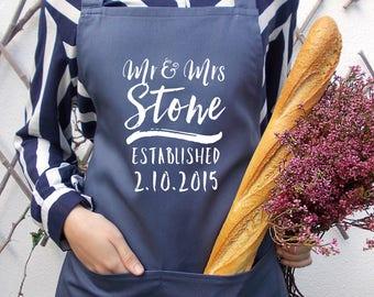 Mr & Mrs, Custom wedding apron gift, Personalized name, Personalized wedding date, Wedding gift idea, Stone Blue baking apron,kitchen apron
