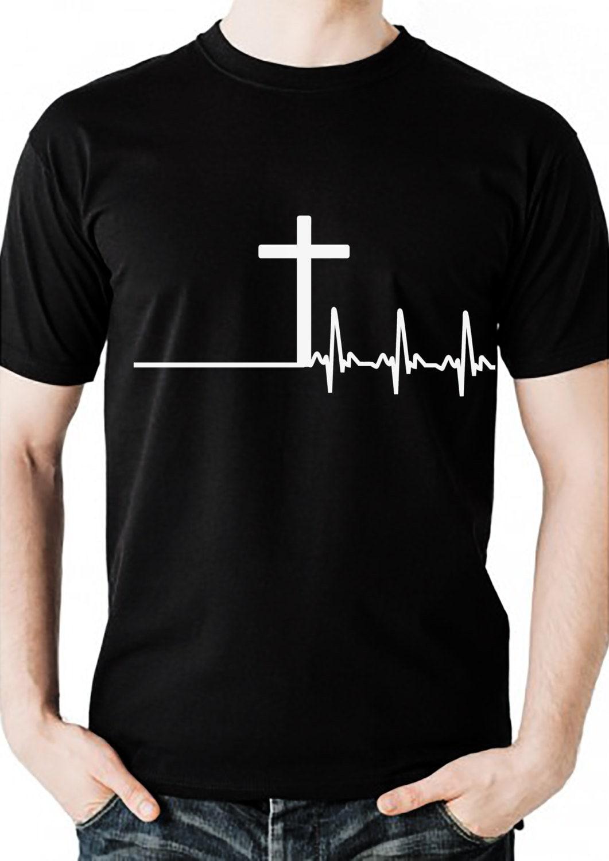 herren christlichen tshirt mit kreuz und herzschlag design. Black Bedroom Furniture Sets. Home Design Ideas