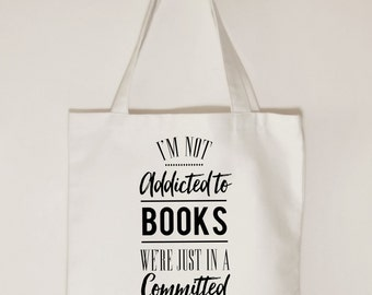 Book lover cotton canvas tote bag, Addicted to books we're just in committed relationship, Gift idea for book tote bag, Book gift for women