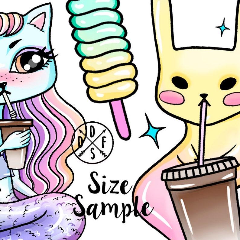 A0157 - Magic kit, Pony, Jinn Rabbit, Unicorn, Mermaid, Coffee, Cat,  Skateboard - Digital Clip Art, Clipart, Instant Download  22 PNG files