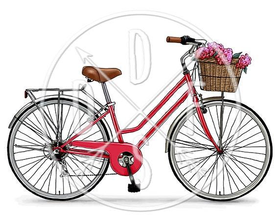 A0089_red - Retro Bicycle, Red Vintage Bike, Flower Basket - Digital Print,  Instant Download  Printable Illustration  PNG/JPG files 8x10''