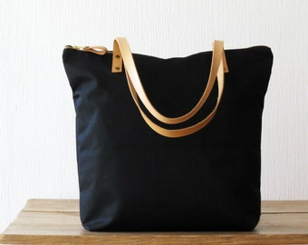 ANGELA, Black with natural handles. Waxed Canvas Zip Tote, Large Canvas Tote, Carryall Shoulder Bag, Everyday bag