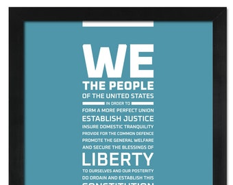The Preamble to the Constitution of the United States: An unframed print
