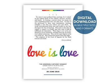 Love Is Love — Justice Anthony Kennedy's majority opinion in Obergefell v. Hodges (2015): A digital download in multiple sizes and formats