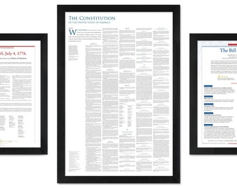 America's Founding Documents: The Declaration of Independence + the Constitution + the Bill of Rights (pack of 3 unframed prints)