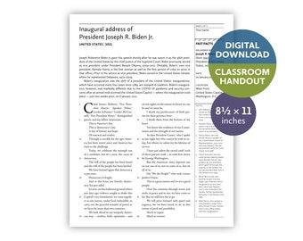 Inaugural address of Joseph R. Biden Jr. (United States | 2021) — Digital download — Classroom handout — 8.5 by 11 printable for teachers