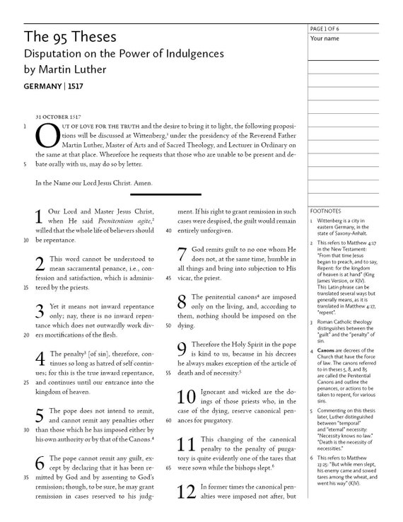 Martin Luther The 95 Theses Disputation On Power Of
