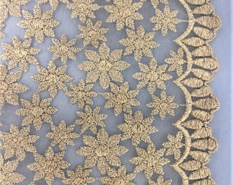 organza fabric with heavy gold floral design
