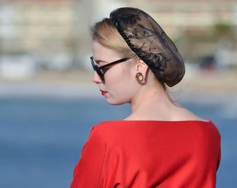 NET hair accessory retro pinup 50 s satin elastic Black Lace snood chic wedding