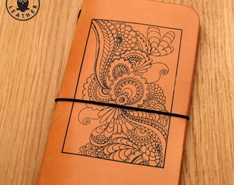 Leather Midori Traveller's Notebook Cover (flower print)