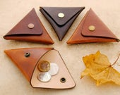 Folded leather coin pouch (Various Colours Available)