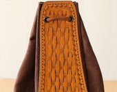 Large Leather Pouch (Antique Tan Cowhide/Brown Pigskin)