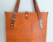 Leather Tote Bag (Tan/Chestnut)