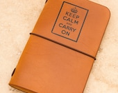 Leather Field Notes or Moleskine Cahier Notebook Cover (Keep Calm)