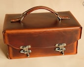 "Leather Toolbox or Tote (10"" mid brown)"