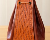Large Leather Pouch (Antique Tan Cowhide/Conker Kidskin)