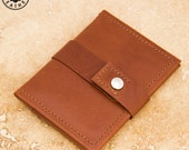 Leather ID/travel card holder (chestnut buffalo calf)