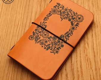 Leather Field Notes or Moleskine Cahier Notebook Cover (Flower Heart) d87ca5bd8dec5