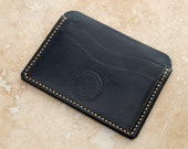 Leather Minimalist Card Wallet (Black Buffalo Calf)