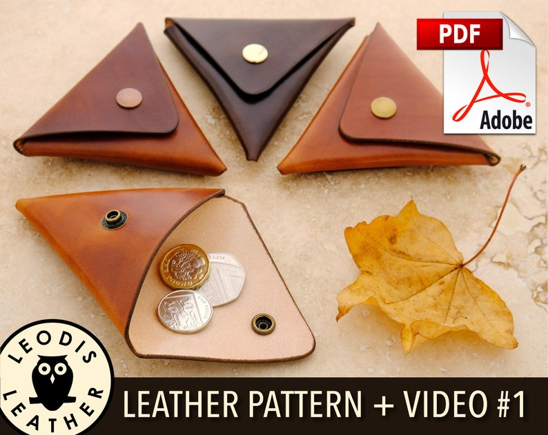 Build Along Leather Pattern 1: Triangular Coin Pouch image 0
