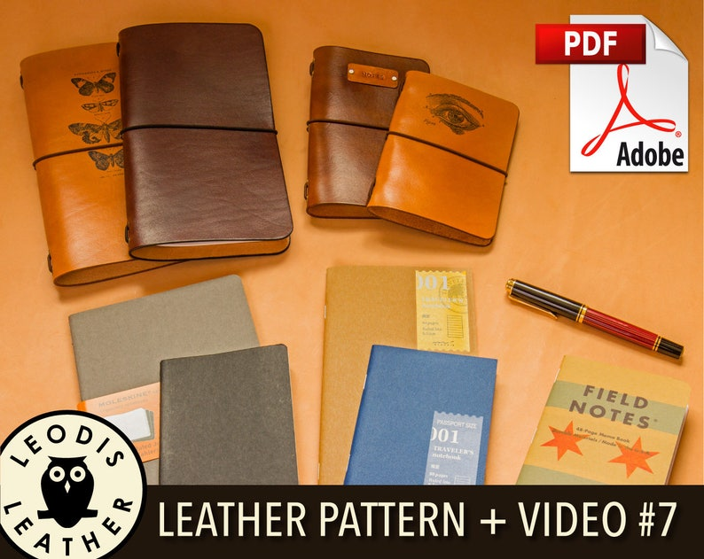 Build Along Leather Pattern 7: Midori Style Notebook Covers image 0