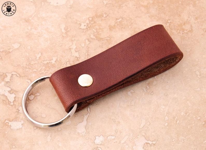 Leather Keyring Devon Oak Bark image 0