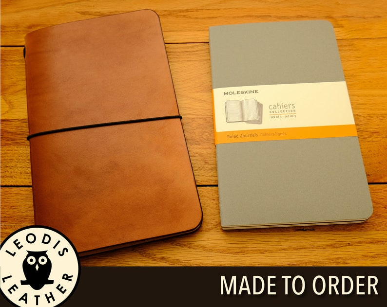 Leather Moleskine Large Cahier Notebook Cover Made to Order image 0