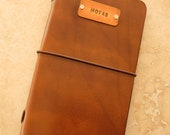 Leather Field Notes or Moleskine Cahier Notebook Cover with Copper Tag (Light Brown)