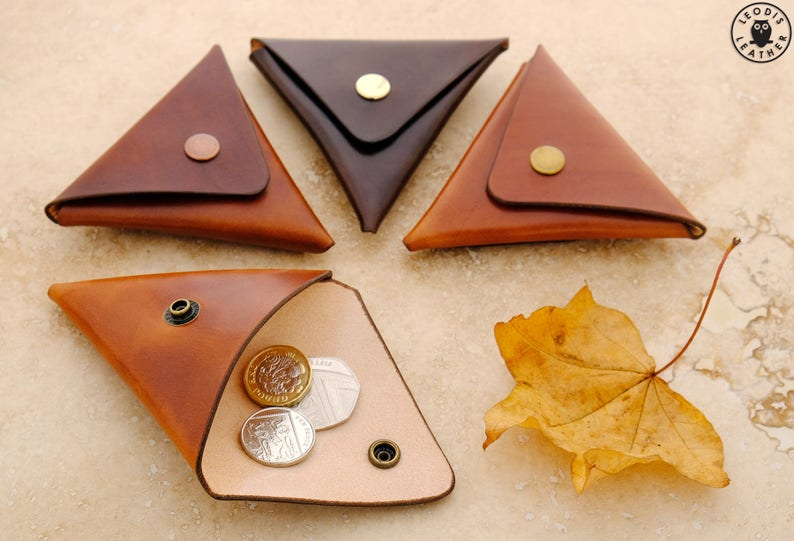 Folded leather coin pouch Various Colours Available image 0