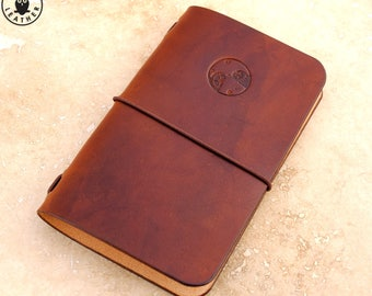 Leather Moleskine Cahier/Field Notes Notebook Cover (Steampunk Clock)