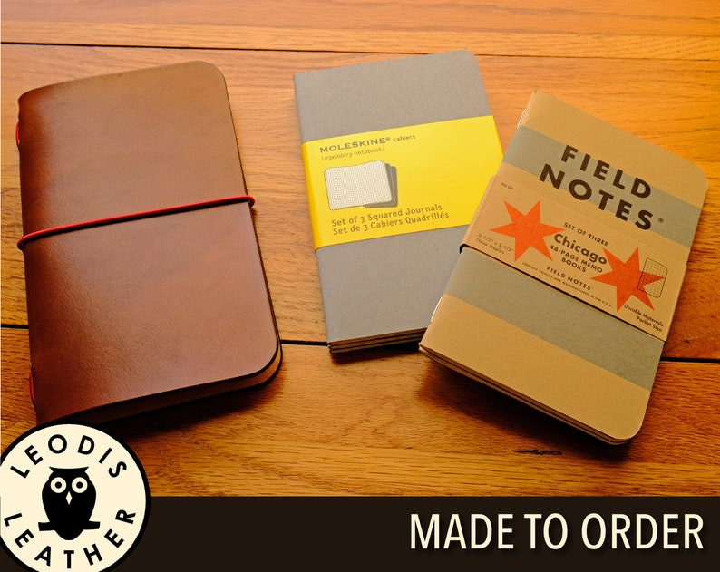 Leather Field Notes or Moleskine Cahier Notebook Cover Made image 0