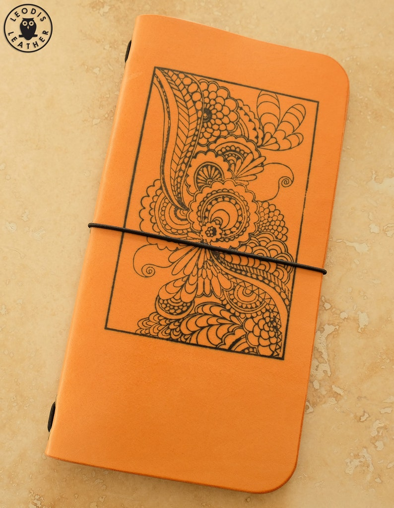 Leather Midori Traveller's Notebook Cover flower print image 0