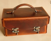 """Leather Toolbox or Tote (10"""" mid brown)"""