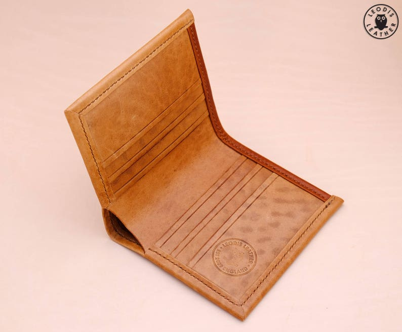 Gents Horsehide Leather Card Wallet Natural image 0
